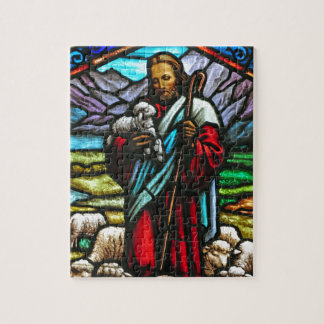 Stained glass image of Jesus and lambs Jigsaw Puzzle