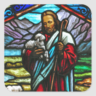 Stained glass image of Jesus and lambs Square Sticker