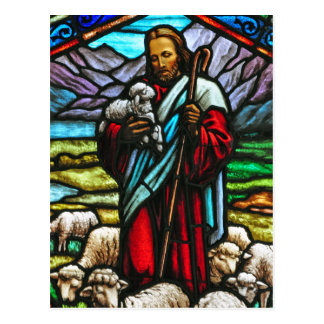 Stained glass image of Jesus postcard