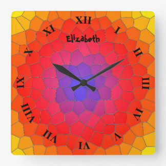 Stained Glass In Blue Purple Red Imitation Square Wall Clock