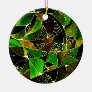 Stained glass in greens ornament