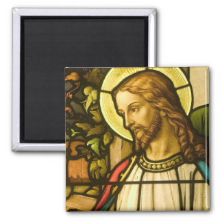 Stained glass Jesus 2 Inch Square Magnet