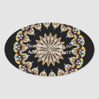 Stained Glass Kaleidoscope 1 Oval Sticker