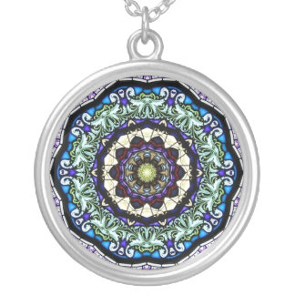 Stained Glass Kaleidoscope #2 Round Pendant Necklace