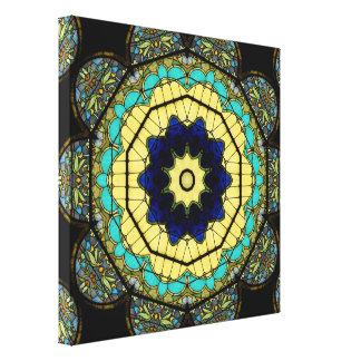 Stained Glass Kaleidoscope #7 Wrapped Canvas