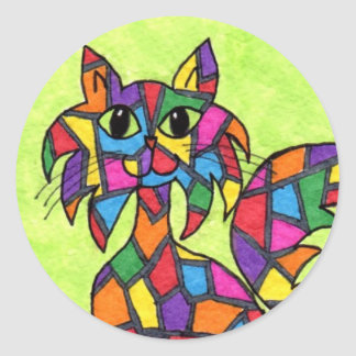 Stained Glass Kitty Classic Round Sticker