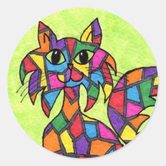 Stained Glass Kitty Round Sticker