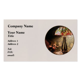 Stained Glass Lamp and Vase of Flowers Business Card Template