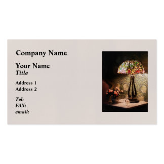 Stained Glass Lamp and Vase of Flowers Business Card
