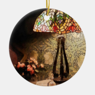 Stained Glass Lamp and Vase of Flowers Ceramic Ornament