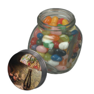 Stained Glass Lamp and Vase of Flowers Jelly Belly Candy Jar