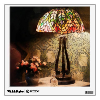 Stained Glass Lamp and Vase of Flowers Wall Decal