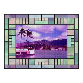 Stained Glass Landscape Poster