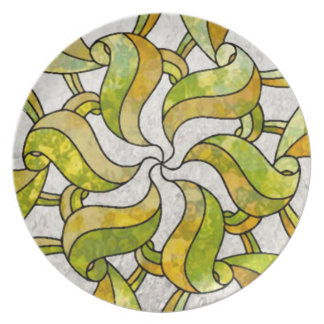Stained Glass Leaf Nouveau Plate