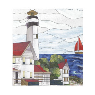 Stained glass lighthouse notepad