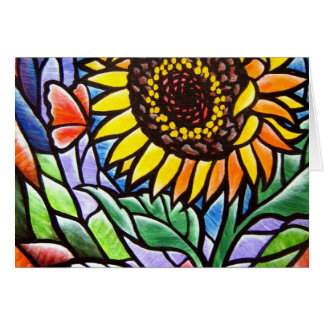 Stained Glass Like Flower plus Fantasy Art Stationery Note Card