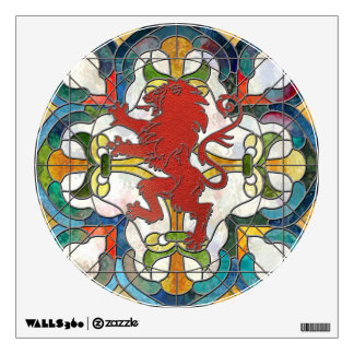 Stained Glass Lion Crest Wall Decal