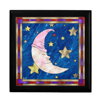 Stained Glass  Look Half Moon Jewelry Box