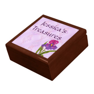 Stained Glass Look Purple Orchid Design Personaliz Jewelry Box