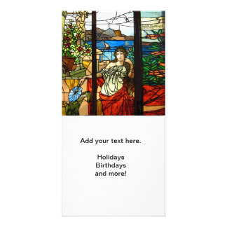Stained glass look with lady sitting. card