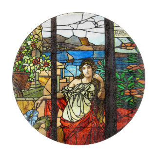 Stained glass look with lady sitting