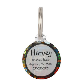 Stained glass look with lady sitting. pet name tag