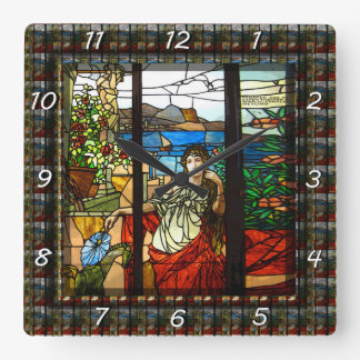 Stained glass look with lady sitting. square wall clock