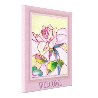 Stained Glass Lovely Rose Canvas Print