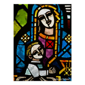 Stained Glass Madonna & Child Poster