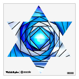 Stained Glass Magen David (12 inch Wall Decal)