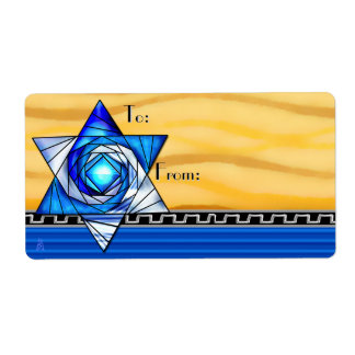 Stained Glass Magen David (To-From) Shipping Labels