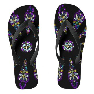 Stained Glass Mandala Flip Flops