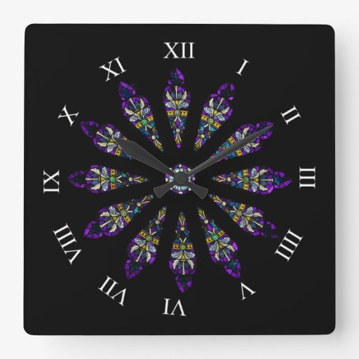 Stained Glass Mandala Wall Clock