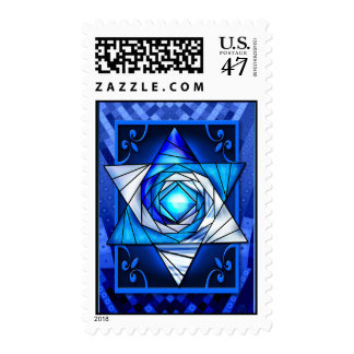 Stained Glass Mogen David Postage Stamp