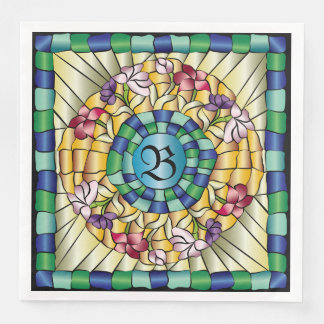 Stained Glass Monogram Colorful Jewel Flowers Paper Dinner Napkin