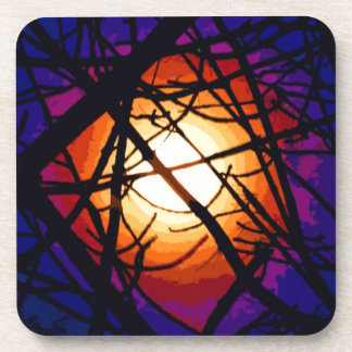 Stained Glass Moon Abstract Beverage Coaster