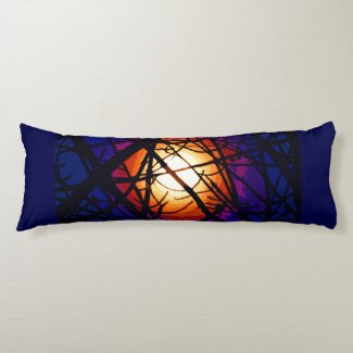 Stained Glass Moon Abstract Body Pillow