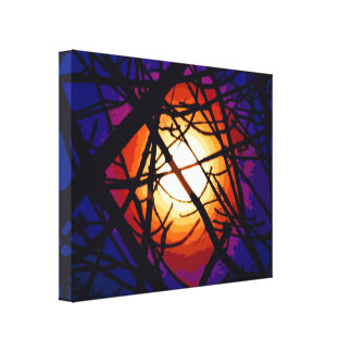 Stained Glass Moon Abstract Stretched Canvas Print