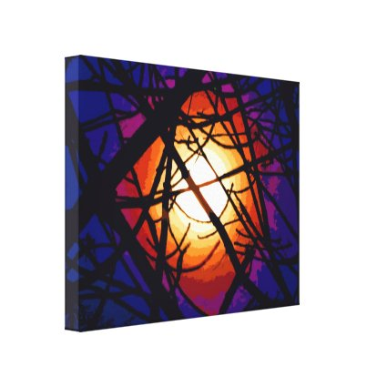Stained Glass Moon Abstract Canvas Print