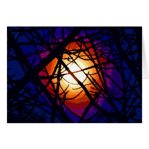 Stained Glass Moon Abstract Greeting Card