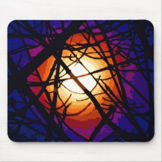 Stained Glass Moon Abstract Mouse Pad