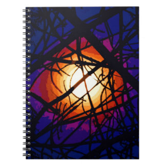 Stained Glass Moon Abstract Notebooks
