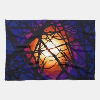 Stained Glass Moon Abstract Towels