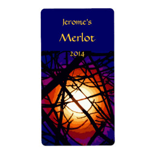 Stained Glass Moon Abstract Wine Label