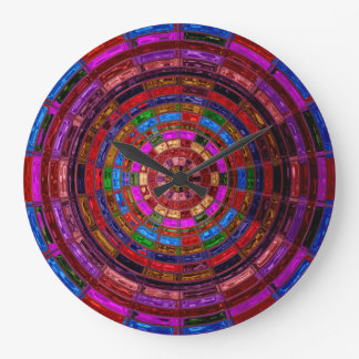 Stained Glass Mosaic Abstract #2 Large Clock