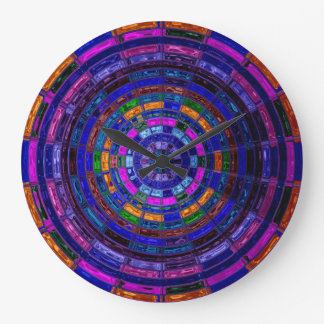 Stained Glass Mosaic Abstract #3 Large Clock