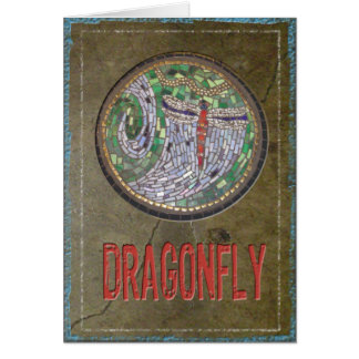 Stained Glass Mosaic: Dragon Fly Greeting Card