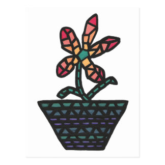Stained glass mosaic flower in pot,  postcards