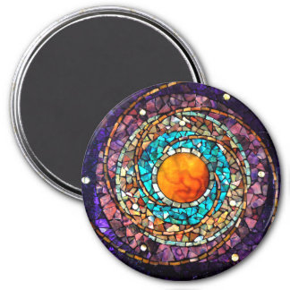 "Stained Glass Mosaic Magnet ""Celestial Clockwork"""