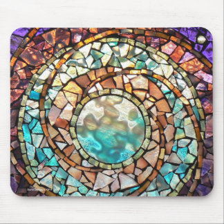 """Stained Glass Mosaic Mousepad """"Water Planet"""""""